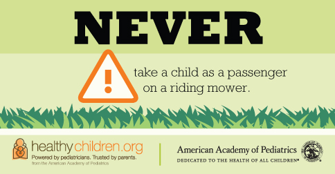 Never take a child as a passenger on lawn mower - image